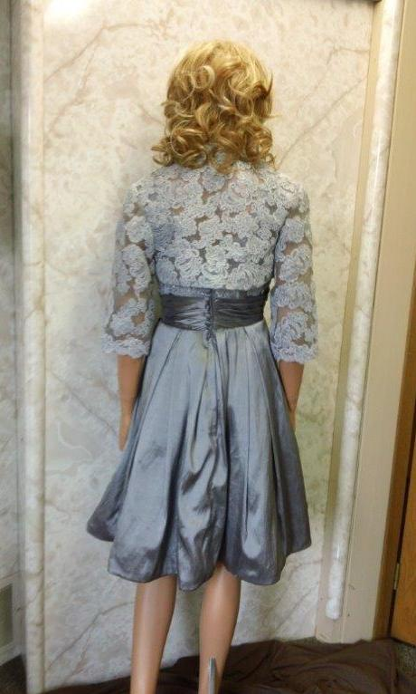 pewter dress with lace jacket