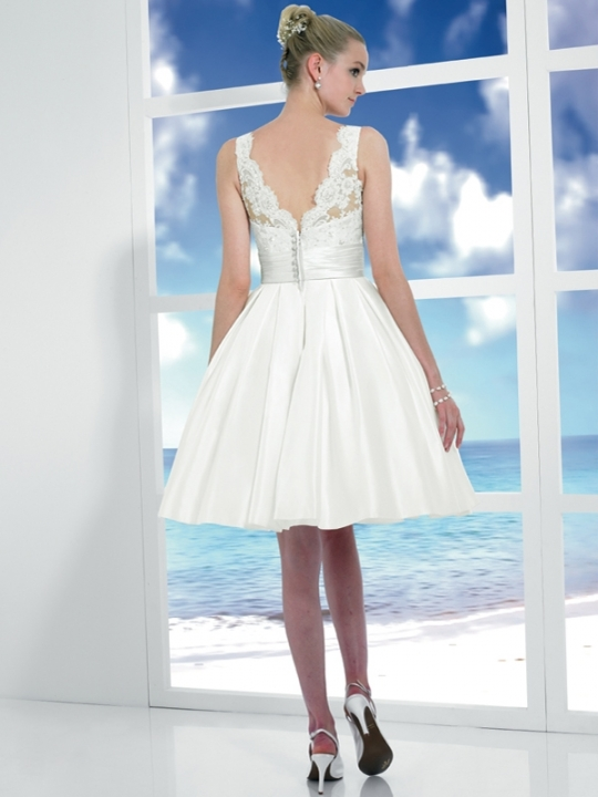 Short lace knee length wedding dress
