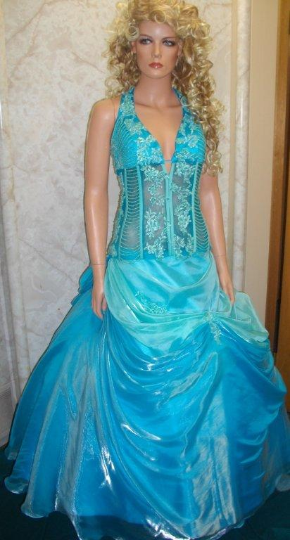 blue see through corset gown