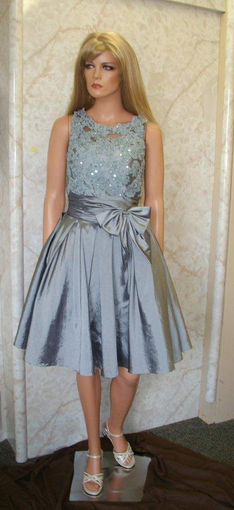 pewter short mother of the bride dress