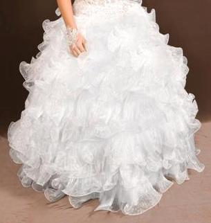 Lace applique see thru bodice wedding gown