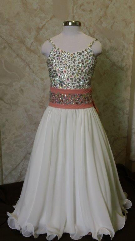 jeweled pageant dress with coral sash