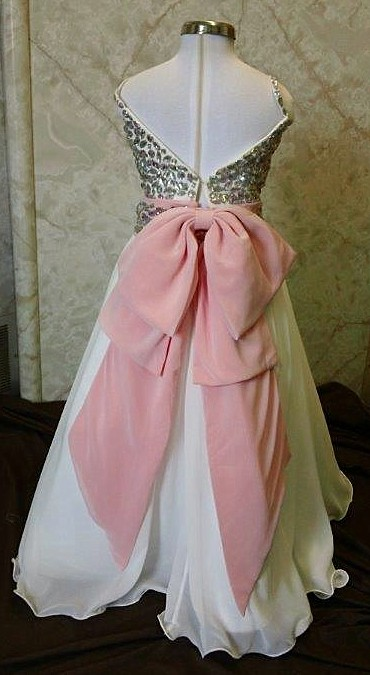 crystal beaded bodice with coral sash