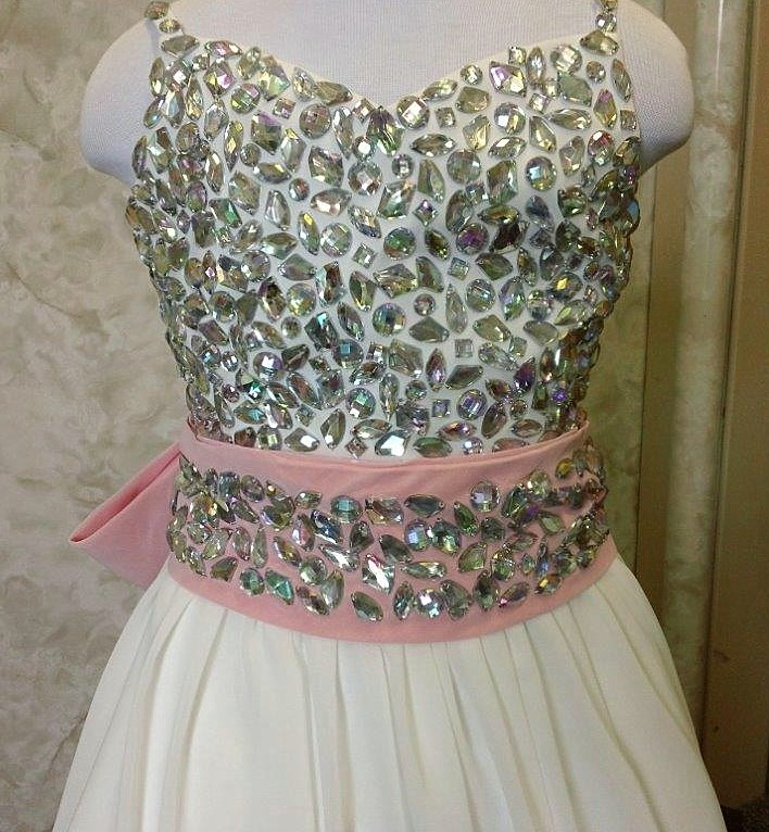 flower girl dress with jewel covered bodice