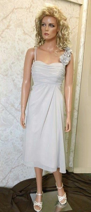 Empire Chiffon Ruching Bridesmaid Dress with Gorgeous flower strap