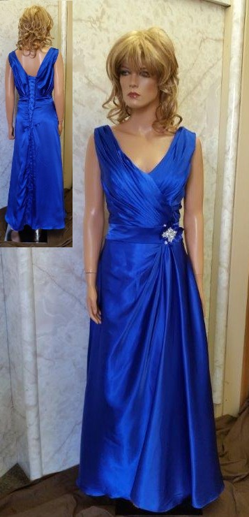 long blue silk bridesmaid dress