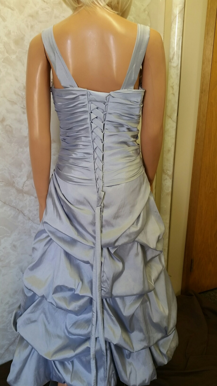 silver with watermelon taffeta dress