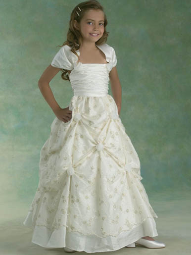 custom flower girl dress with pick up skirt