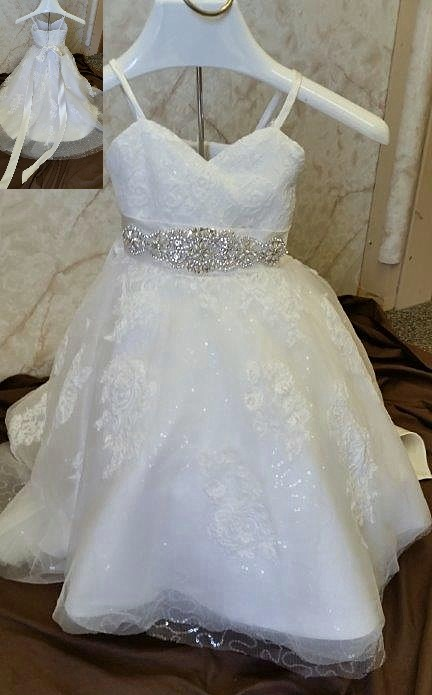 sequin lace dress with crystal beaded sash
