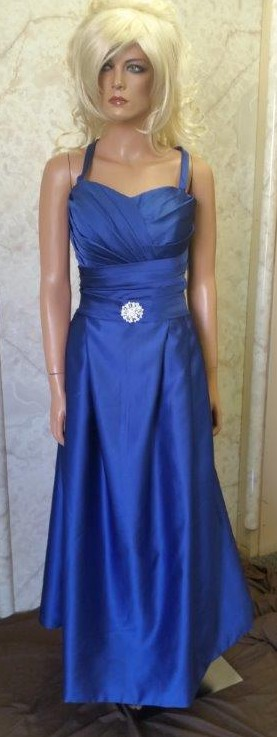 blue pleated bodice bridesmaid dresses