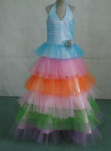 Turquoise halter top pageant dress with rainbow skirt