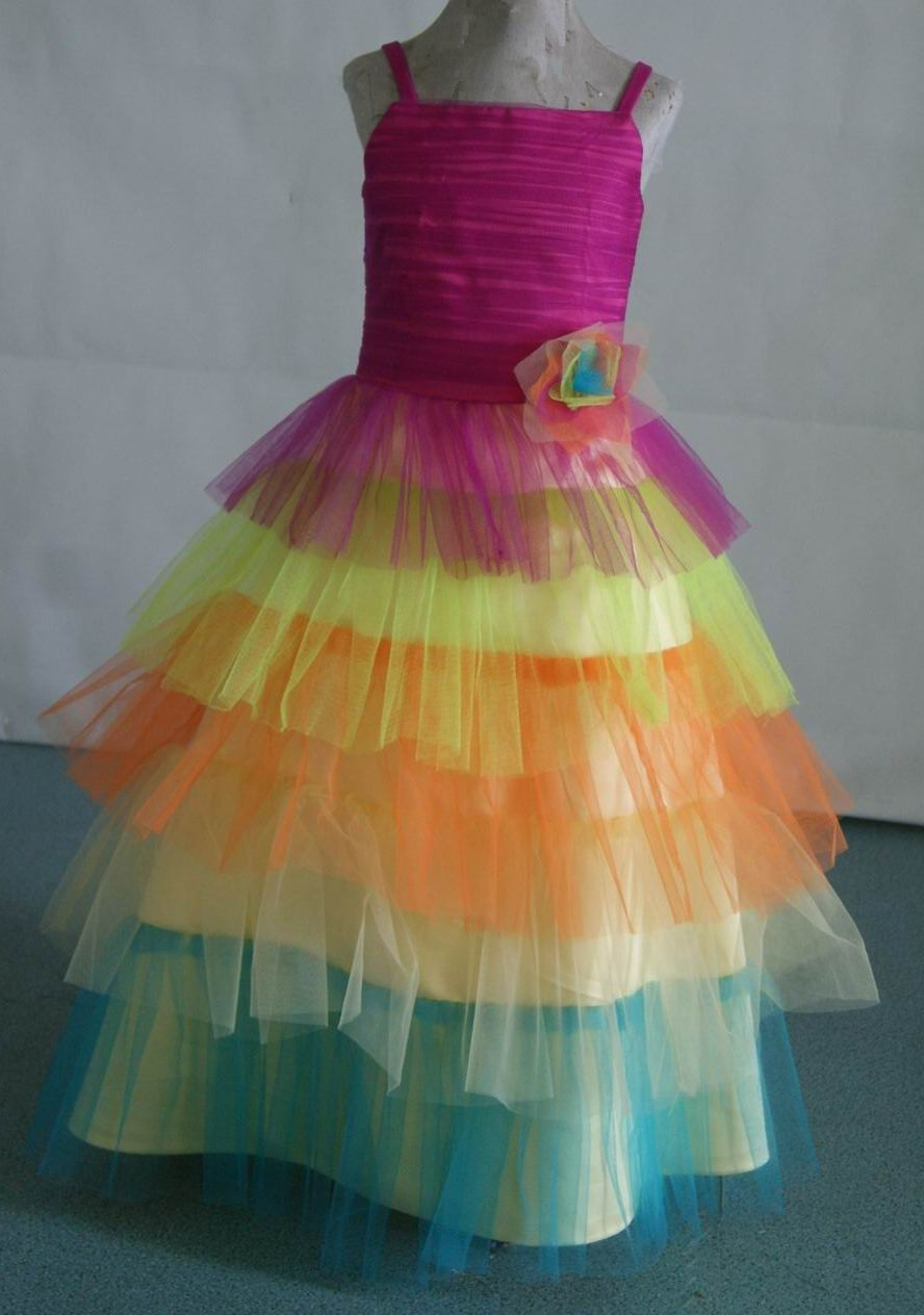 fushia, lime, orange, yellow, turquoise dress