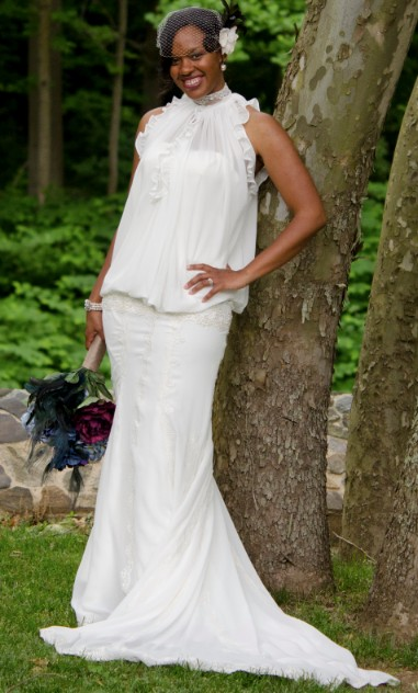 Chiffon Wedding dress with a fitted dropped waistband creating a blouson