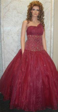 burgundy one shoulder prom gown