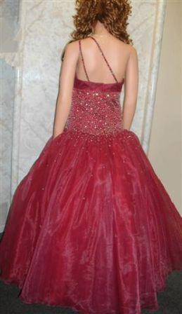 burgundy one shoulder ball gown