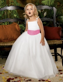white and pink flower girl dress