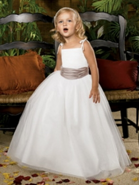 white and mocha flower girl dress
