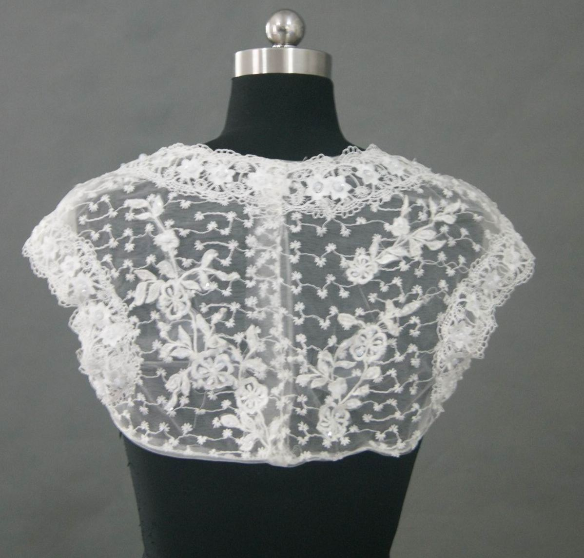 white wedding lace bolero jacket