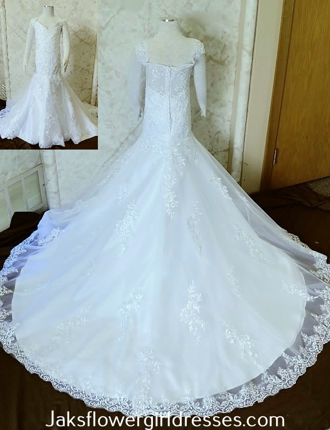 white v-neck flower girl dress with dropped waist