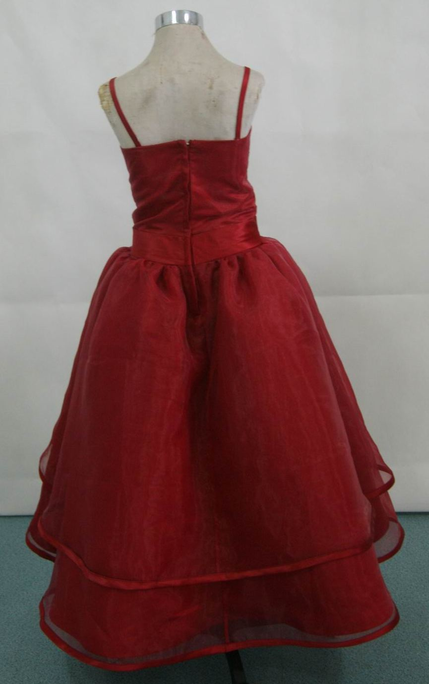 red organza spaghetti strap flower girl dress