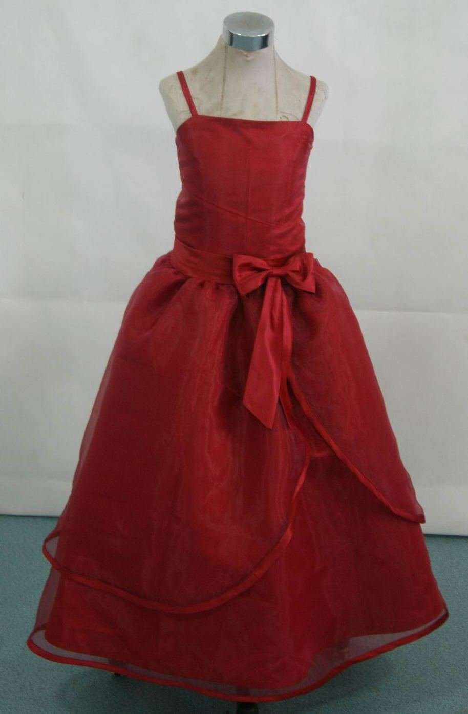 apple red organza flower girl dress