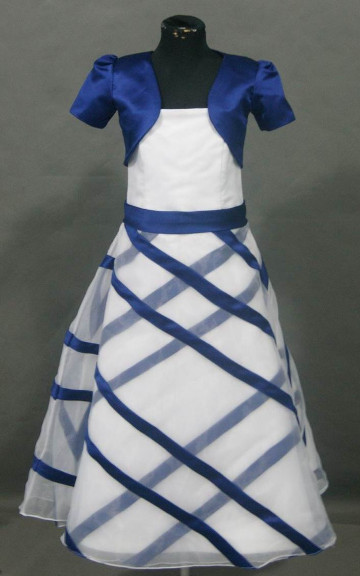 White dress with bright blue trim