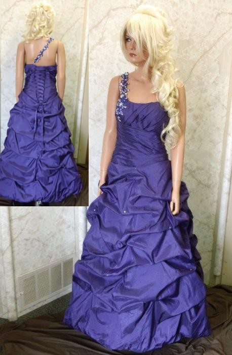 Purple Draped One Shoulder Dress