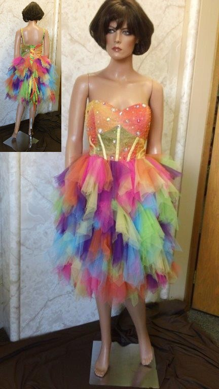 Short rainbow colored fun fashion pageant dress