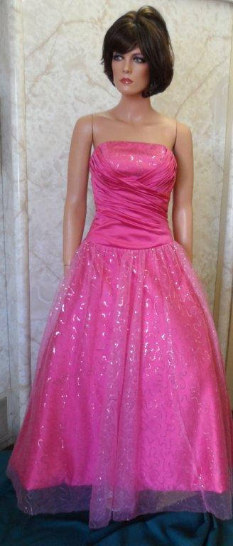 pink long strapless sequin prom dress