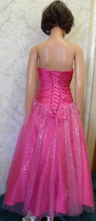 pink corset lace up gown
