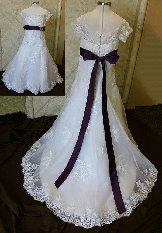 Long flower girl dresses with purple sash