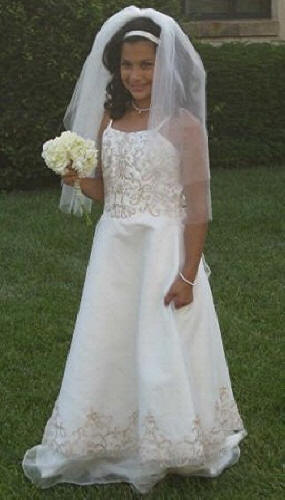 mini bride, match brides gown