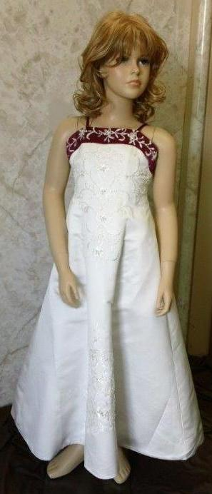 white and raspberry flower girl dress