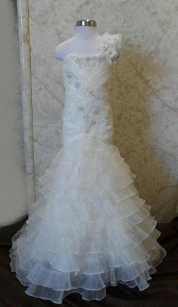 Embellished lace with floral petal flower girl bride