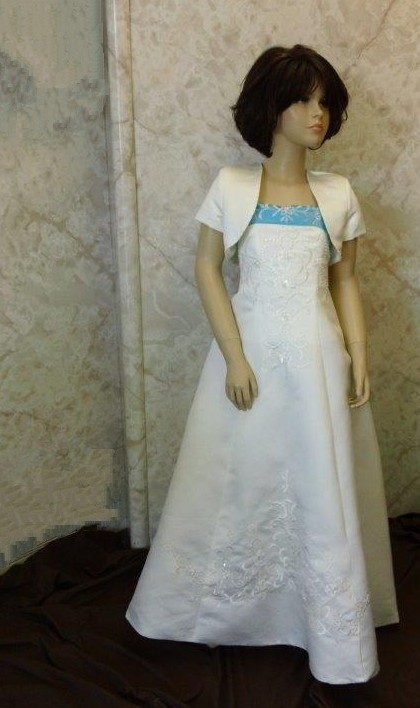long ivory flower girl dress with pool blue