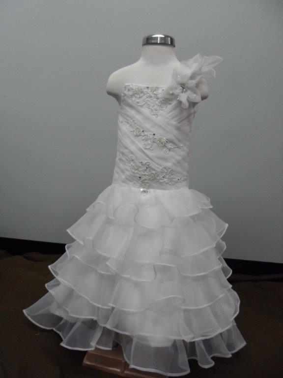 one shoulder little flower girl bridal gown