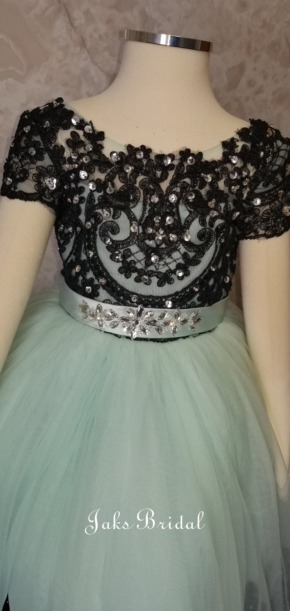mint and black toddler ball gown