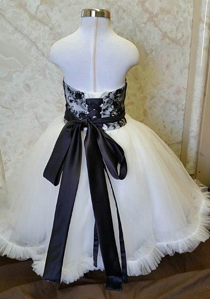 ivory and black lace flower girl dress