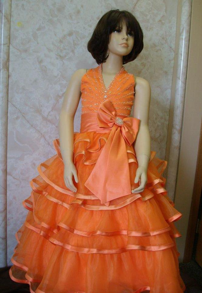 little girls orange halter pageant dress