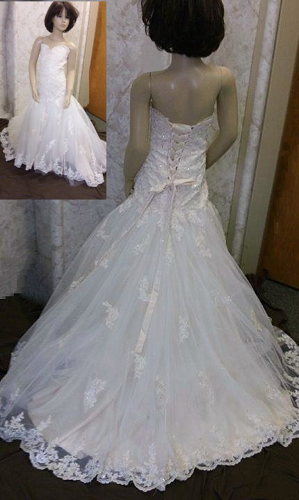 Lace mermaid gown with sweetheart neckline features breathtaking beaded lace