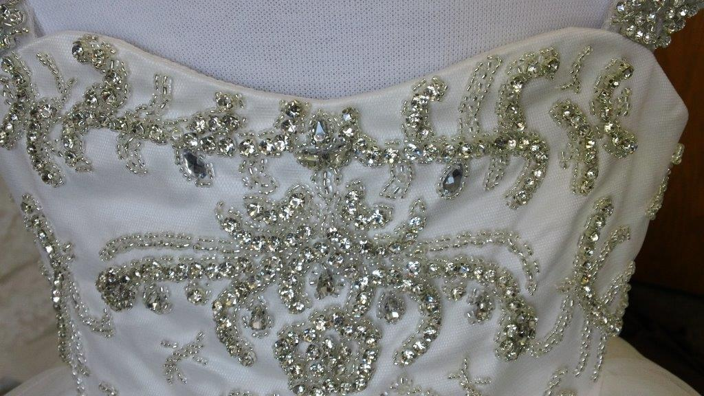 rhinestone and silver beaded embroidery bodice