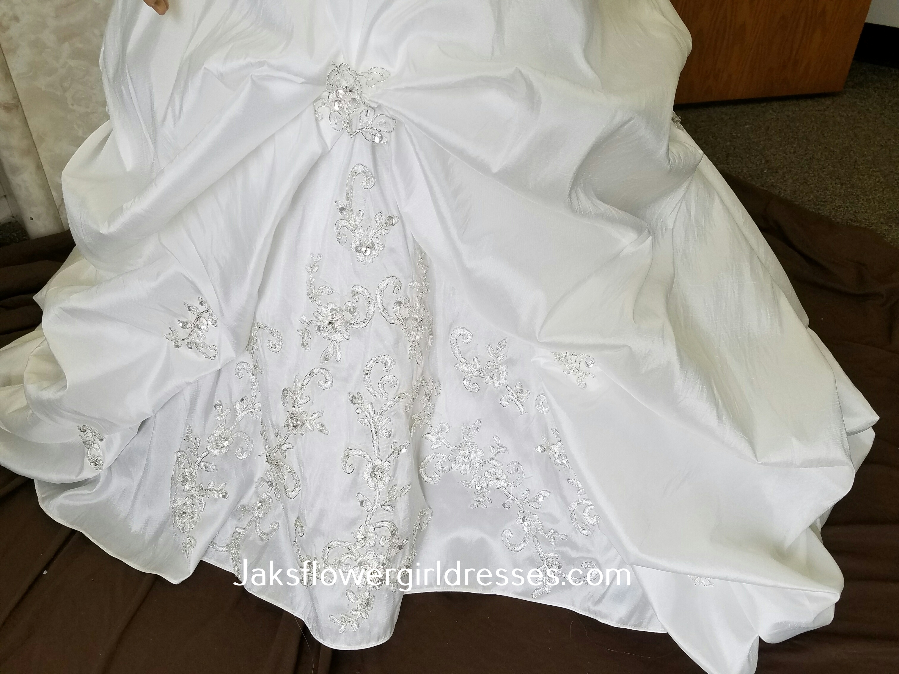 long flower girl dress with pinched skirt