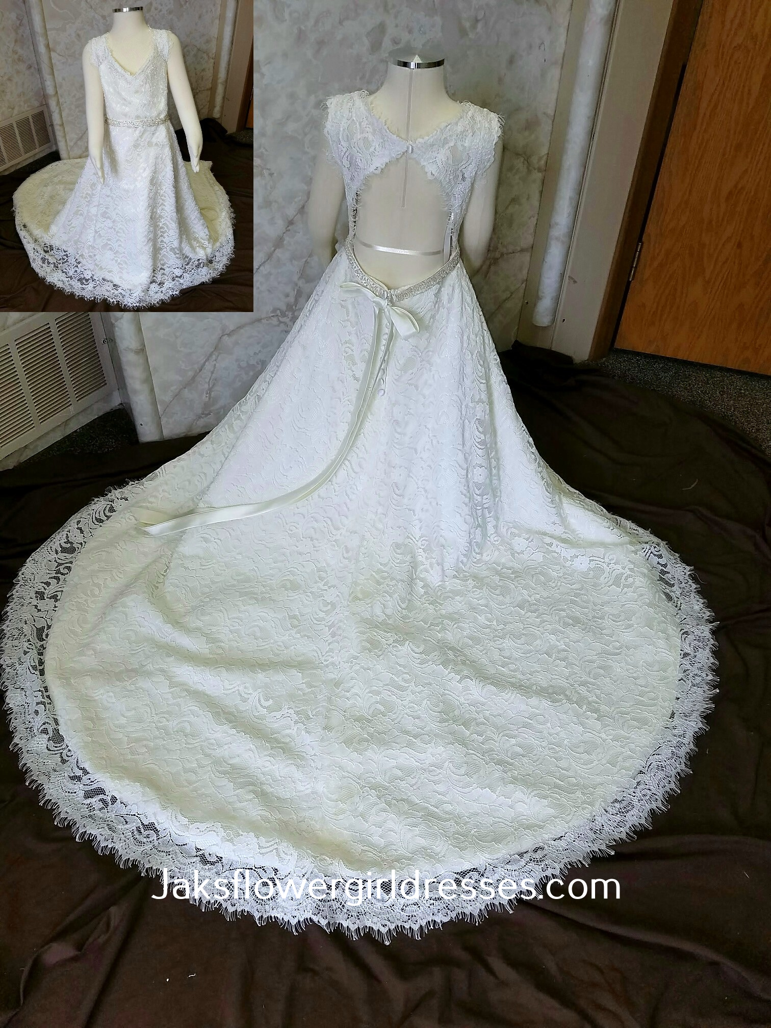 Match my lace open back wedding dress for my flower girls dress