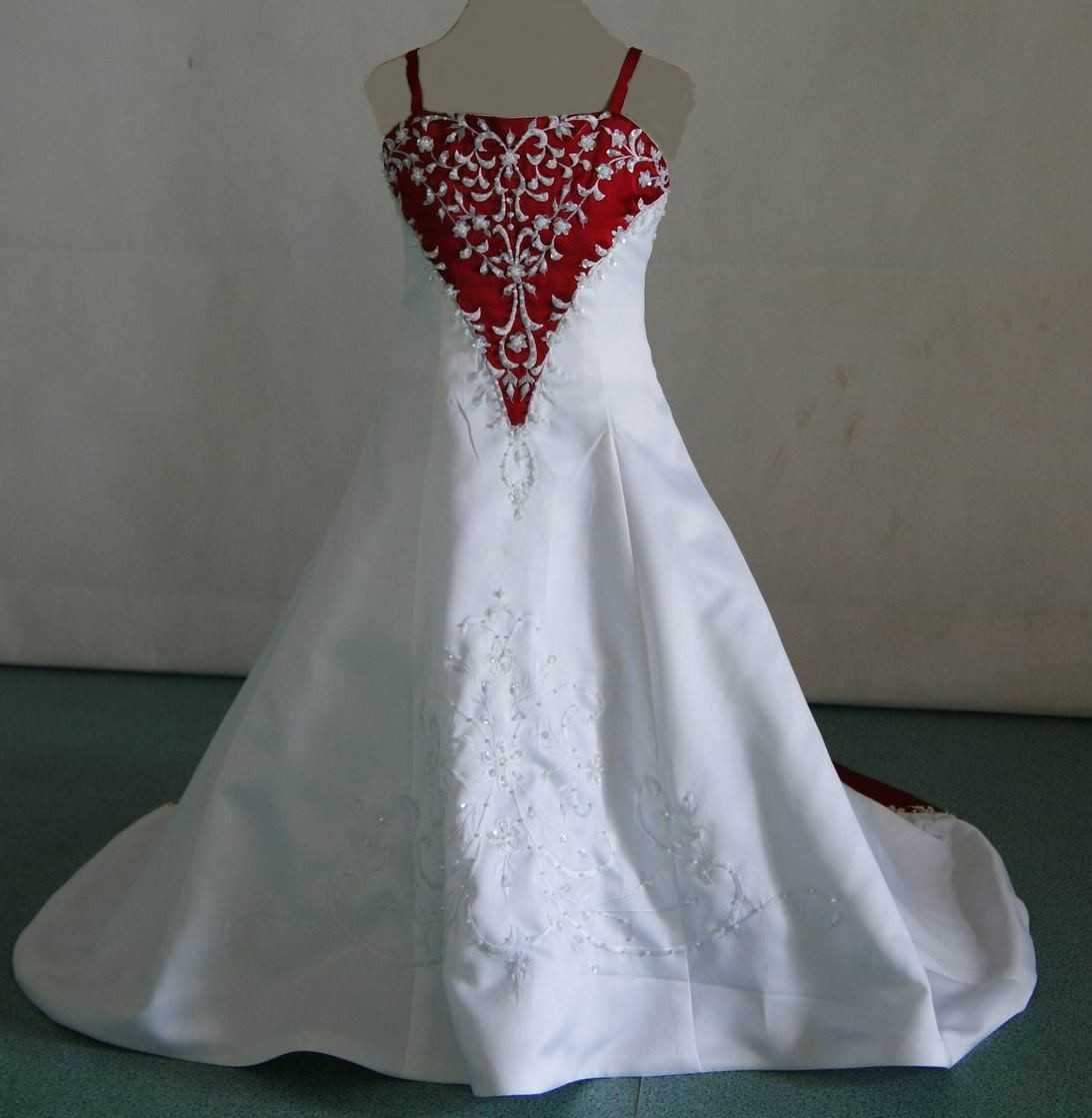 white and red miniature wedding gown