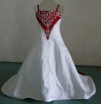 red and white mini wedding gown