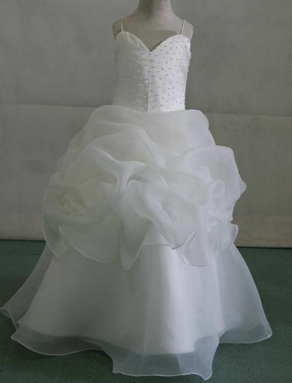 Child bride ball gown organza pickups