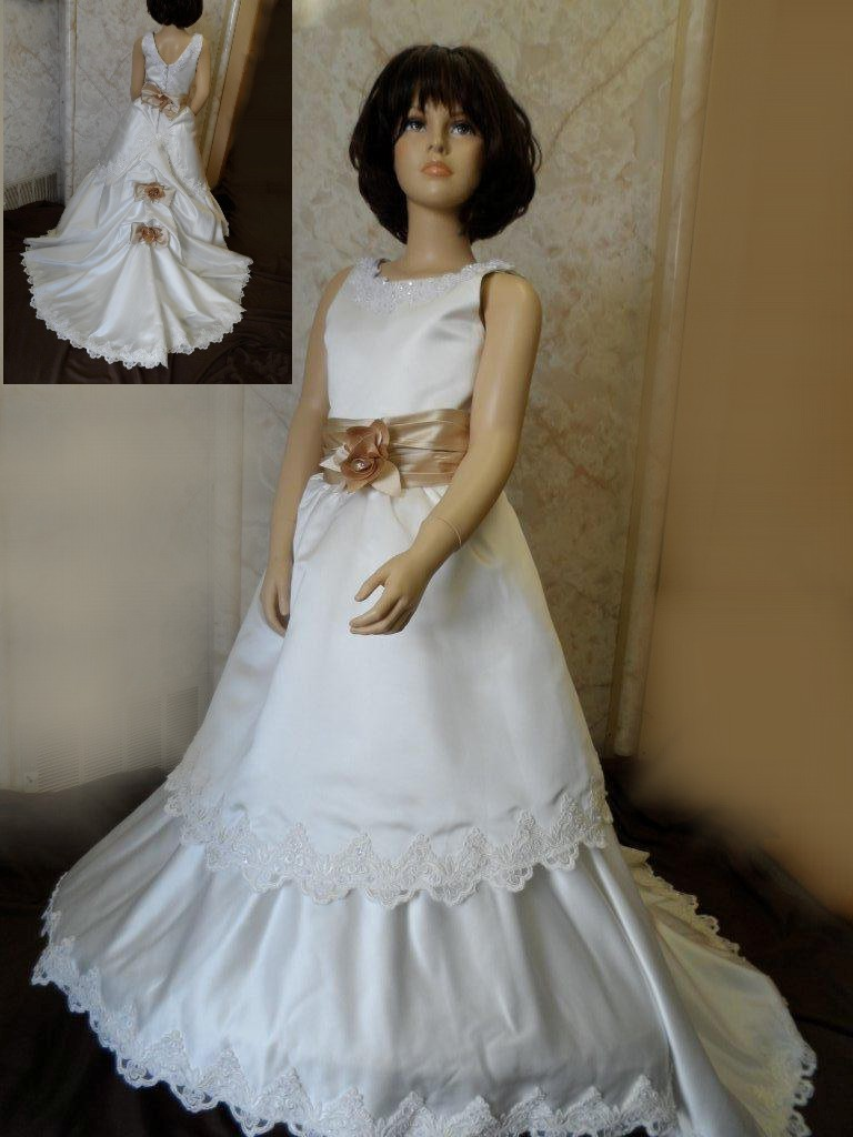 ivory champagne flower girl dress