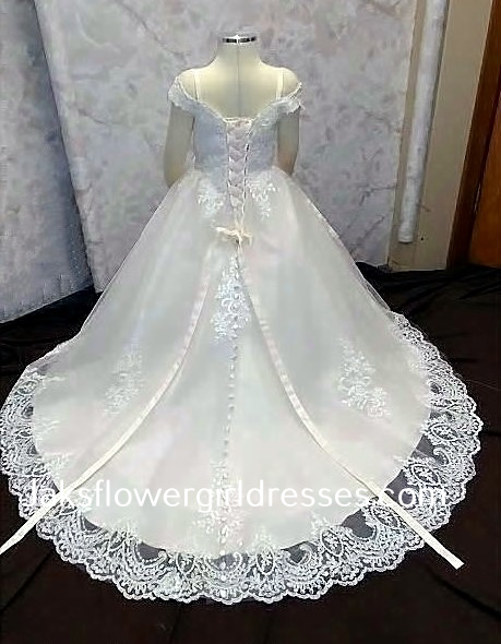 lace cap sleeve flower girl dress