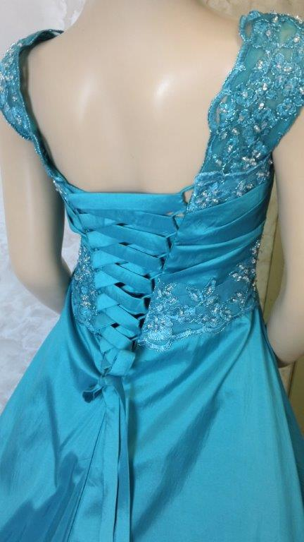 teal flower girl dress with train