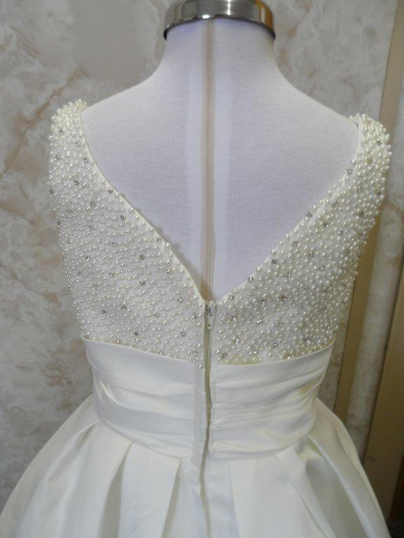 Faux pearl and rhinestone miniature wedding gown